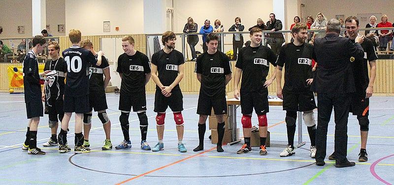 Der BTV Aachen wurde als neuer Deutscher Meister im Tchoukball geehrt. (Foto: Steffi Wildner)