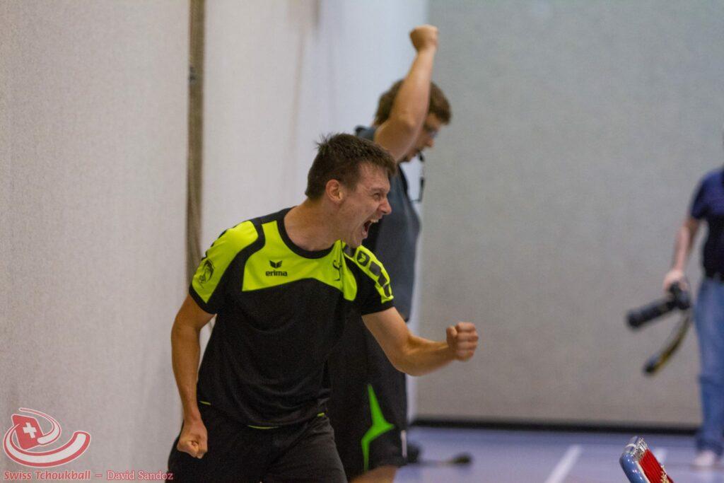 Emotion pur: Guillaume Cuche gewann mit den Beehives den ersten nationalen Meistertitel. (Foto: David Sandoz)