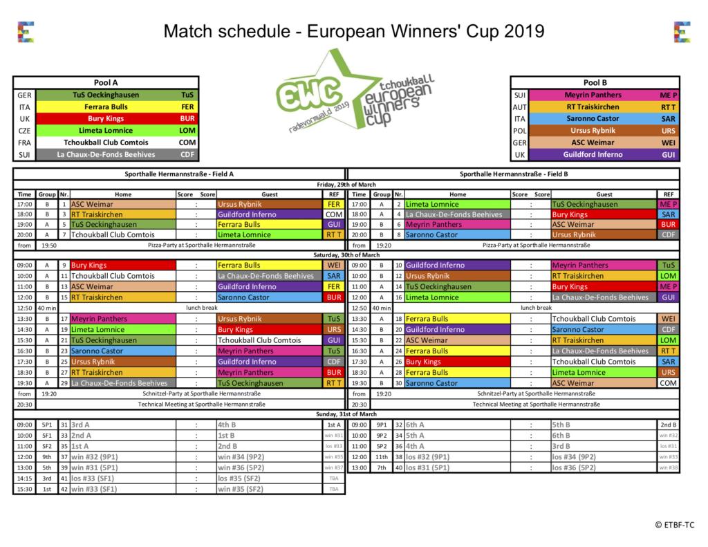 Download: Spielplan für den European Winners' Cup in Radevormwald